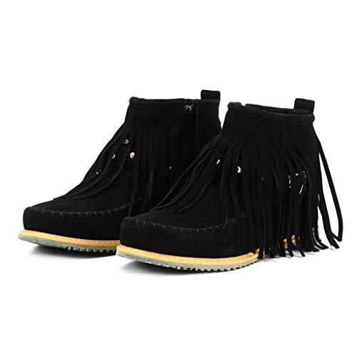 MIRRAY Frauen Knöchel Kurze Stiefel Quasten Big Size Stiefel Seitlicher Reißverschluss Nieten Nackte Stiefel