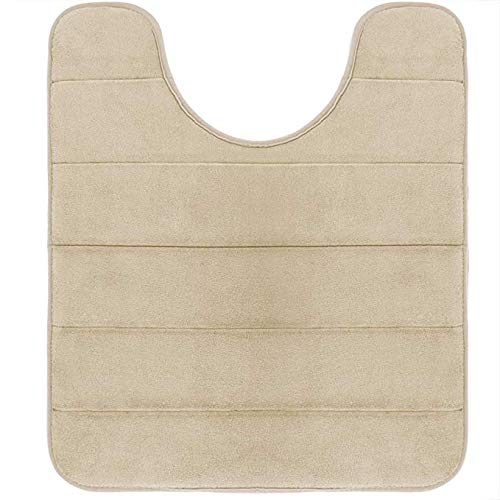 Yimobra Memory Foam Toilet Bath Mat U-Shaped, Soft and Comfortable, Super Water Absorption, Non-Slip, Thick, Machine Wash and Easier to Dry for Bathroom Commode Contour Rug, 24 X 20 Inches, Camel