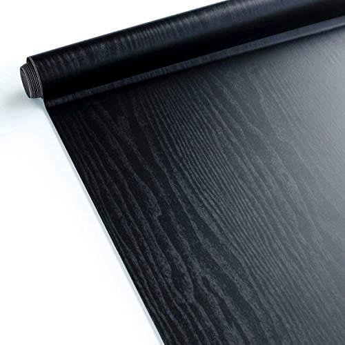 [より厚い]壁紙シールHomein木目リメイクシート黒防水剥がせるカッティングシート耐久耐熱ウォールステッカーのり付きdiy賃貸壁キッチン浴室トイレ家具テーブル床つや消し44x200cm