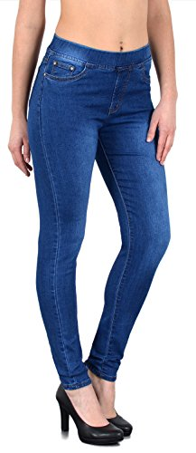 ESRA Damen Jeans Hose Skinny und Slim Fit Jeanshose mit Gummibund SkinnyJeans bis Grosse Grössen J291