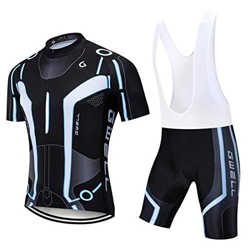 GWELL Herren Radtrikot Atmungsaktive Fahrradbekleidung Set Trikot Kurzarm + Trägerhose mit Sitzpolster für Radsport Schwarz-Weiß XL