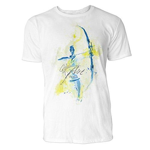 Bogenschießen frontal Sinus Art ® Herren T Shirt ( Weiss ) Crewneck Tee with Frontartwork