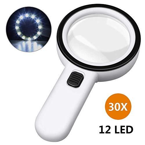 Lupe mit Licht Leselupe , otutun 30X Handlupe mit 12 LED Licht und Doppelglaslinse 105mm groß Verzerrungsfreier Lupe Kinder Senioren für Lesen Kleingedruckten Prüfen Münzen Briefmarken Handwerk