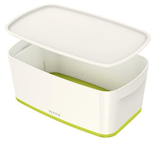 Leitz MyBox, Aufbewahrungsbox mit Deckel, Klein, Blickdicht, Weiß/Grün Metallic, Kunststoff, 52291064