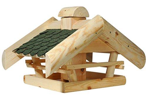 dobar 98510e Klassisches Vogelhaus aus Holz (Kiefer) für Garten, Balkon, mit grünen Bitumenschindeln, mittigem Futtersilo für Vögel, massivem Satteldach - Vogelhäuschen Vogel-Futterhaus