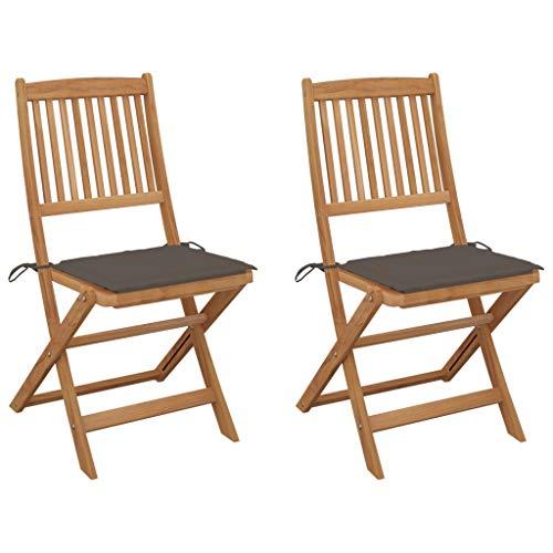 vidaXL 2X Akazienholz Massiv Gartenstuhl Klappbar mit Kissen ohne Armlehnen Klappstuhl Stühle Stuhl Gartenstühle Holzstuhl Essstuhl Gartenmöbel