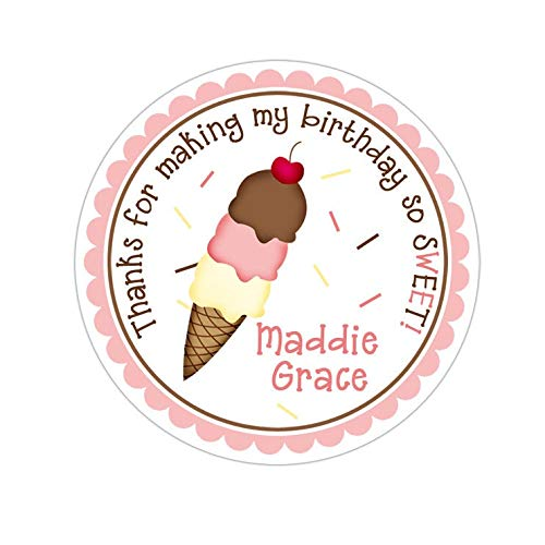 Yilooom Ice Cream Stickers, Ice Cream Birthday Party, Ice Cream Party Stickers, Personalized Birthday Party Favor Thank You Stickers, 4 inch in Width - 6 Pcs