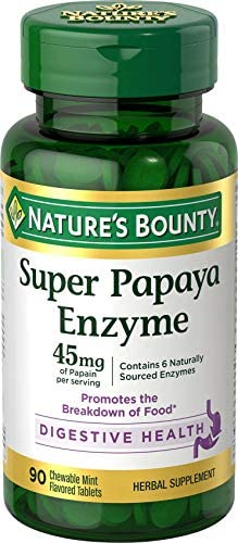 Super Papaya Enzyme by Nature s Bounty Herbal Supplement Supports Digestive Health Mint Flavor product image