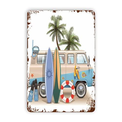 CIKYOWAY Letreros de metal, tabla de surf, tablas de surf y equipo de buceo en verano, cartel de chapa, pintura de hierro para pared, decoración de pared, arte, placas retro, cartel, placa colgante,
