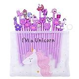 Pluma gel unicornio,Comius Sharp 20 Piezas Bolígrafos de unicornio para niñas, regalo de cumpleaños escolar,0.5 mm Fine Point Pen Tinta negra Pluma para escuela oficina suministros. (Púrpura)