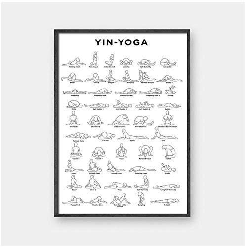 DLFALG Ashtanga Primary Series Yoga Poster Arte de la lona Arte de la pared en blanco y negro Decoración Niñas Fitness Regalos Gimnasio Arte Pintura Decoración-42x60cm Sin marco