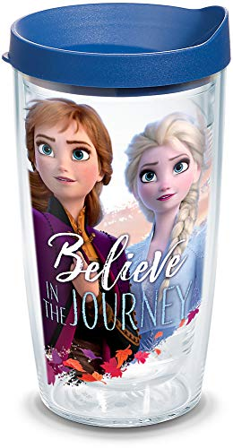 Tervis Disney Frozen 2 Anna Elsa Journey Insulated Travel Tumbler & Lid, 16 oz, Clear