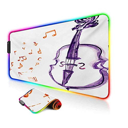 RGB Gaming Mouse Pad Mat,Musical Notes Instrument Violin Cello in Watercolors Style White Backdrop Print Non-Slip Mousepad Rubber Base,35.6'x15.7',for MacBook,PC,Laptop,Desk Purple and Red