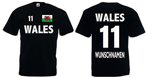 Wales Trikot mit Wunschname und Wunschnummer EM 2016|schwarz-XL