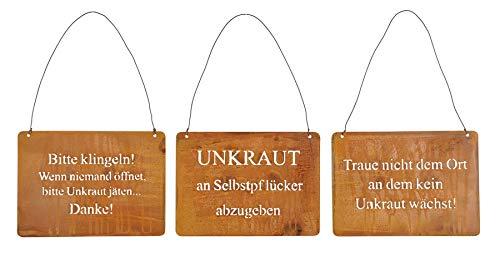 3er Set Wandbilder Sprüche 18x13cm Schilder Garten-Deko Türschild Edelrost Rostdeko Wanddeko