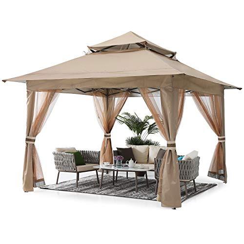 ABCCANOPY 13'x13' Gazebo Tent Outdoor Pop up Gazebo Canopy Shelter with Mosquito Netting (Khaki)