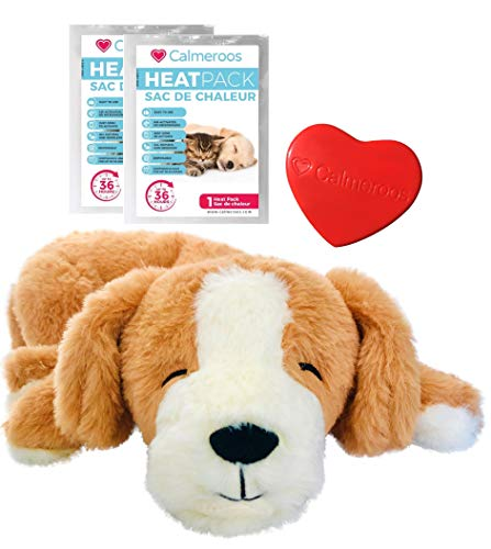 Calmeroos Puppy Heartbeat Toy Sleep Aid with 2 Long-Lasting Heat Packs Last 36 Hours Each Puppy...
