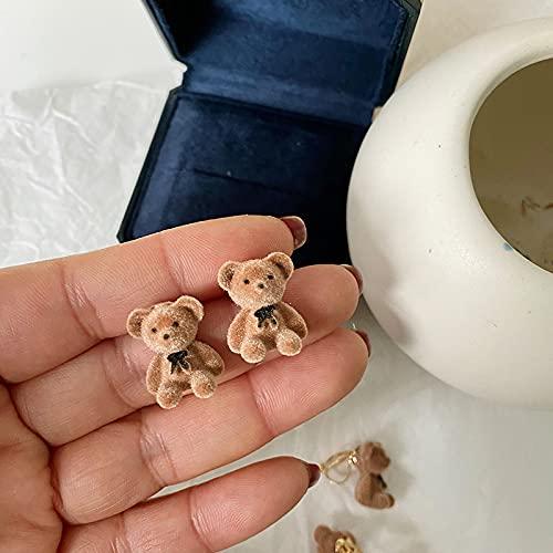 YiXing Pendientes coreanos divertidos de felpa con diseño de oso de lazo para mujeres y niñas, joyería de animales de dibujos animados (color de metal: aretes de tuerca marron)