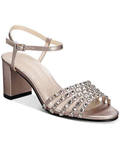 Caparros Womens Plaza Open Toe Ankle Strap Classic, Mushroom Metallic, Size 7.5