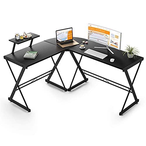 Maxzzz Bureau d'angle en Forme de L - Solide - avec Structure et Table en Forme de L - avec Pieds réglables - 147 x 126 x 73 cm - Grande Table en Bois MDF - Noir