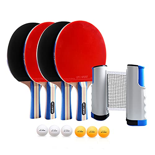 Joy.J Sport Conjunto de Tenis de Mesa con Red, 4 Raquetas + 6 Bolas/Pelotas de Tenis de Mesa + 1 Red Retráctil, Juego de Tenis de Mesa Portátil para Interior al Aire Libre