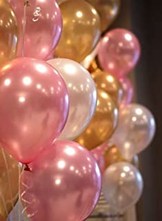 OSG Crafters Party Metallic Balloon HD Combo of 3 Colors - Gold, White & Pink (Pack of 51)