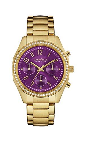 Caravelle New York Oro Melissa–Reloj de Cuarzo para Mujer con Morado Cronógrafo y Oro Amarillo Pulsera 44l197
