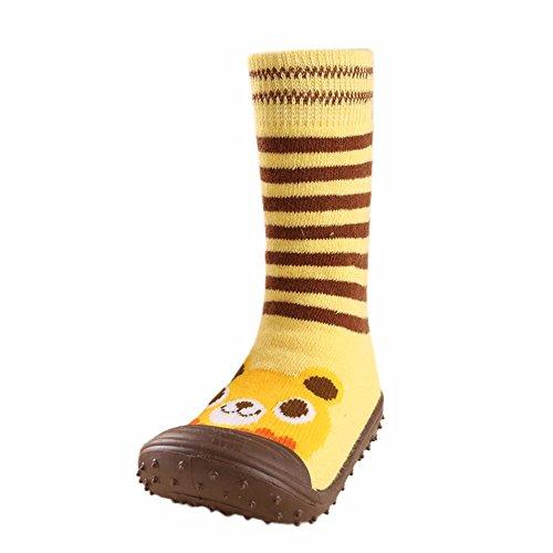 Huhu833 Baby Socken, Neugeborenes Baby Jungen Mädchen Cartoon Bodenbelag Socken rutschfeste Sohle aus weichen Gummischuhe Sneaker (Gelb, 20 EU)