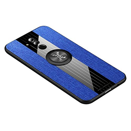 Mingxian For Huawei Mate Funda Protectora del 20 Costura de Tela a Prueba de Golpes textue TPU Lite/Maimang 7 con Soporte de Anillo (Negro) (Color : Blue)