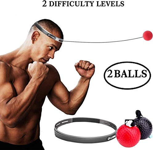 Kikunum 2 Difficulty Level Boxing Reflex Ball with Headband, Perfect for Reaction, Agility, Punching Speed, Fight Skill and Hand Eye