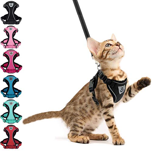 cat leashes Cat Harness and Leash - Escape Proof Reflective Pet Vest Harnesses for Cats & Puppies, Easy Control and Soft Breathable Mesh for Walking - Small Medium Large Cats