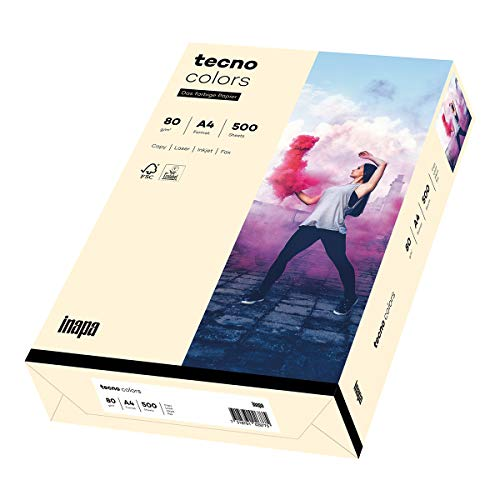 Inapa farbiges Druckerpapier, buntes Papier tecno Colors: 80 g/m², A4, 500 Blatt, hellchamois