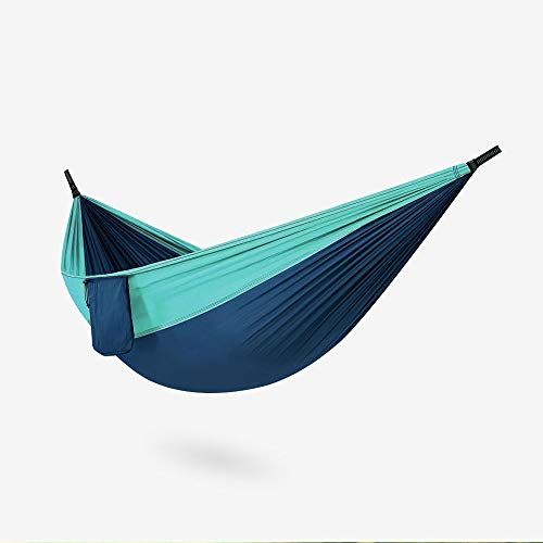 LYYJIAJU Outdoor Cotton Hammock Hammock - Extra Large Double Hanging Mat for 1 People - Light, Easy-Hang Camping Kit - 201T Nylon Fabric Cot With Travel Bag, Heavy-Duty Tree Straps, and Carabiner Set