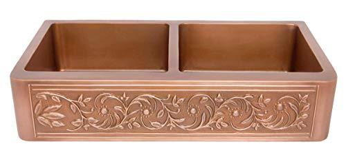 Vine Design Double-Bowl Copper Farmhouse Sink - Smooth Interior