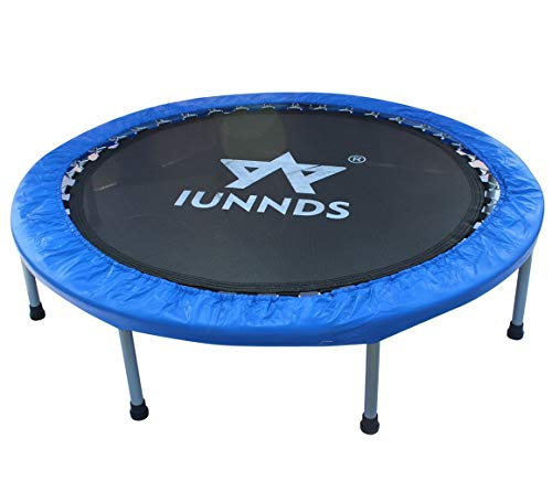 """KLB Sport Rebounder Trampoline with Safety Pad, Folding Indoor Fitness Trampoline for Kids Adults (38"""" Foldable)"""