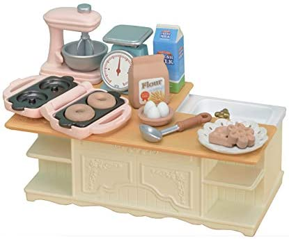 Calico Critters Kitchen Island, Toy Dollhouse Furniture and Accessories Set
