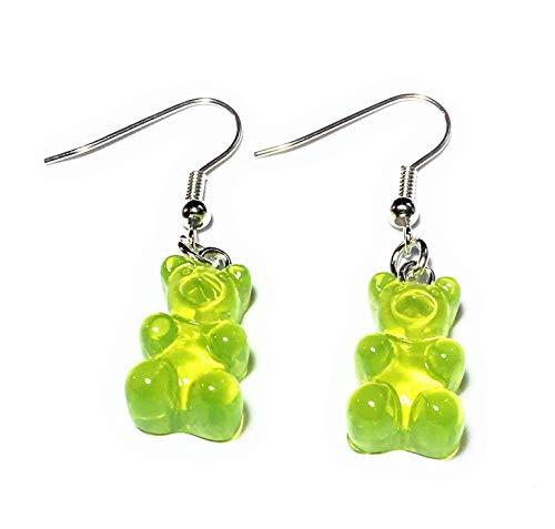 FizzyButton Geschenke transluzent grün Harz Kalk Gummibärchen/Gummibärchen Tropfenohrringe mit versilberten Ohrhaken