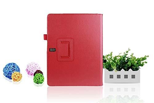 QiuKui Tab Funda para la lengüeta 10.5 S, Caso del lichí de la PU del Cuero del Soporte sólido de la Tableta Folio Protector para Samsung Galaxy Tab 10.5 S T800 T805 (Color : Red)