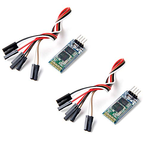 Neuftech 2Pcs 4 Pin Serial Wireless Bluetooth RF Transceiver Module HC-06 RS232 with Cable for Arduino