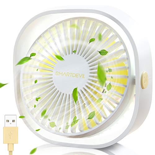 SmartDevil USB Ventilator, Mini Ventilator USB Tischventilator, Ventilator Klein Leise 3 Geschwindigkeiten, USB Desk Fan Geräuscharm, USB Fan Einfach zu Tragen, für Büro, Zuhause und im Freien(Weiß)
