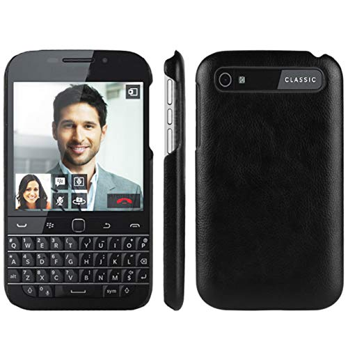 HualuBro Handyhülle für BlackBerry Classic Hülle, Retro PU Leder Ultra Slim Stoßfest Bumper Hülle Cover Schutzhülle Lederhülle Backcover für BlackBerry Classic Tasche (Schwarz)