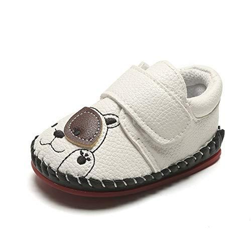 XYAN Herbst 0-1 Jahr Kleinkind im Freien Walking-Schuhe weiche Gummisohle Griffige Magic Tape Pu Muster Bär Nahtkante (Farbe : Weiß, Size : 13cm)