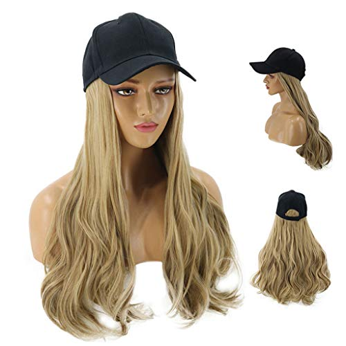 Fine Baseball Cap with Hair Synthetic Hats with Hair Attached for Women Black Hat with Hair Long Wavy Hair for Women Daily Party Use (Khaki)