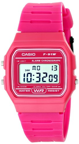 Casio Kinder-Armbanduhr F-91WC-4ACF, klassisch, Digitale Anzeige, Quarzuhrwerk, Rosa
