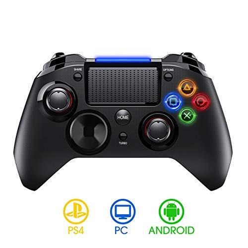 PICTEK Manette PS4 sans Fil, Manette de Jeu avec USB Rechargeable 1300mAh, Contrôleur de Jeu Compatible avec Playstation 4 /PC/Android, Bluetooth, Wireless, Casque Audio De 3,5 mm, Micro
