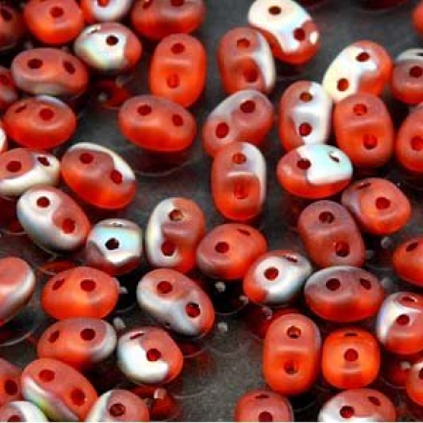 Czech SuperDuo Two-Hole Seed Crystal Beads 5.5x2.5mm Hyacinth Vitrail Matte 22gram