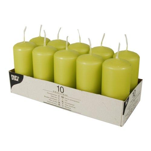 PAPSTAR 10585 Stumpenkerzen, 40 mm, Kiwi, grün