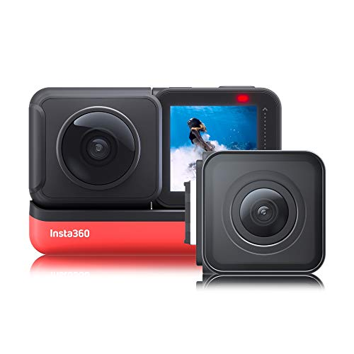 Insta360 VR Action Camera - One R Twin Edition-Reihe - 4K-Weitwinkelobjektivmodul - 360-Dualobjektivmodul - Touchscreen-Anzeigemodul, Red/Black