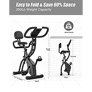Folding Exercise Bike with Arm Resistance Bands, Magnetic Upright Indoor Cycling Bike Stationary for Home Gym & Cardio Workout