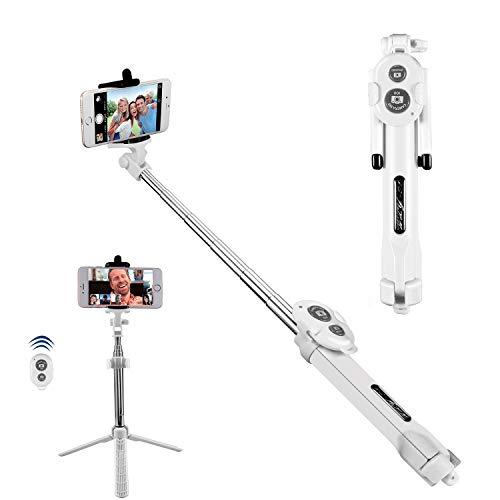 Alfort Palo Selfie, Bluetooth Selfie Stick Trípode Wireless Mini con Obturador Remoto Bluetooth para iPhone 8/7 / Samsung A7 / S7 / Huawei P10 / P9 y Otros Android/iOS Teléfono 5.5 (Blanco)